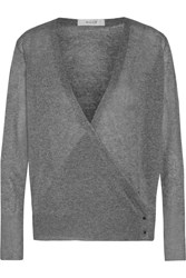 Milly Metallic Stretch Jersey Wrap Cardigan Gray
