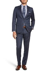 Hickey Freeman Men's Big And Tall Classic Fit Solid Wool Suit Navy