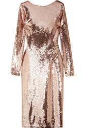 Tom Ford Zip Detailed Sequined Satin Midi Dress Antique Rose