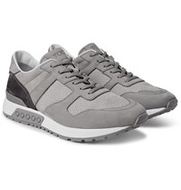 Tod's Panelled Nubuck Suede And Mesh Sneakers Gray