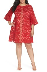 Gabby Skye Plus Size Bell Sleeve Lace Trapeze Dress Red Cafe Mocha