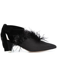 Attico Feather Embellished Mules Black