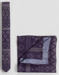 Asos Textured Paisley Tie And Pocket Square Set In Purple