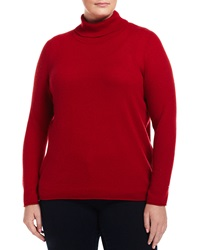 Neiman Marcus Cashmere Turtleneck Long Sleeve Sweater Red