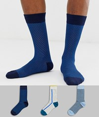 Burton Menswear 3 Pack Of Socks In Navy