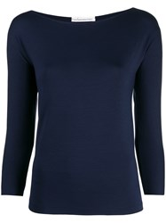 Stefano Mortari Boat Neck Fitted Top Blue