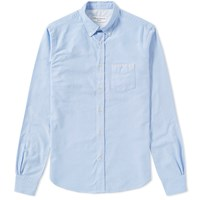Officine Generale Button Down Japanese Selvedge Oxford Shirt Blue