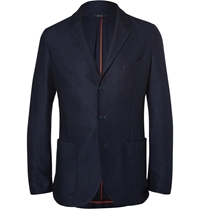 Loro Piana Navy Unstructured Suede Trimmed Silk And Cashmere Blend Blazer Blue