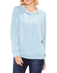Vince Camuto Dolman Sleeve Brushed Jersey Center Front Seam Hoodie Soft Skies