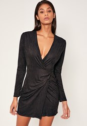Missguided Black Faux Suede Wrap Over Bodycon Dress