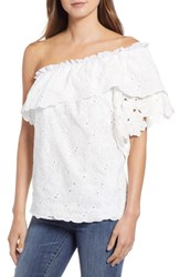Kas New York Dulia One Shoulder Eyelet Blouse White