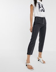 Only Kelis Button Front Mom Jeans In Black