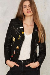 Glamorous Neat As A Pin Vegan Leather Moto Jacket Black