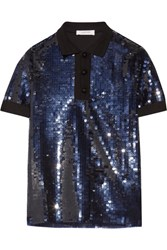 Carven Knit Trimmed Sequined Tulle Polo Shirt Navy
