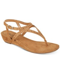 Style And Co Hareet Wedge Sandals Created For Macy's Women's Shoes Caramel