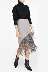 Jessie Western Women S Fringed Suede Eyelet Wrap Skirt Boutique1 Grey