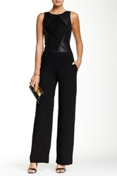 Ramy Brook Brandy Genuine Leather And Suede Trim Jumpsuit Black