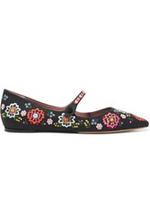 Tabitha Simmons Hermione Fest Embroidered Canvas Point Toe Flats Black