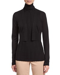 Derek Lam Long Sleeve Cropped Cardigan Black Women's Size Medium