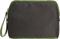 Valextra Logo Stitched Travel Pouch Green