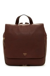 Fossil Preston Leather Backpack Brown