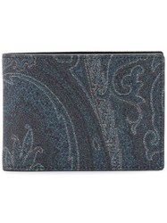 Etro Leather Graphic Wallet Blue