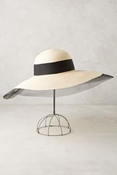 Anthropologie Sunny Wide Brim Hat Black And White