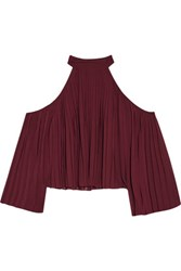 W118 By Walter Baker Mila Cutout Pleated Crepe De Chine Blouse Burgundy