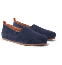 Mulo Shearling Lined Suede Loafers Navy