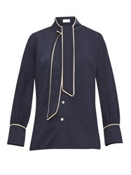 Peter Pilotto Pussy Bow Satin Blouse Navy