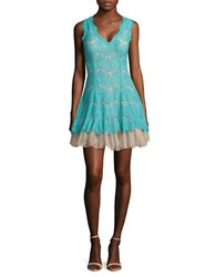 Betsy And Adam Lace Fit Flare Dress Aqua Nude