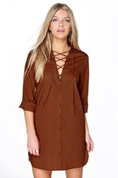 Boohoo Lace Up Collar Cotton Shirt Dress Chestnut