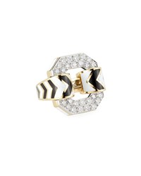 David Webb 18K Chevron Enamel Ring W Diamonds