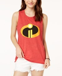 Mighty Fine Juniors' The Incredibles Graphic Tank Top Red Mineral Wash