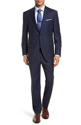Peter Millar Classic Fit Plaid Wool Suit Navy