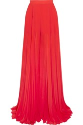 Elie Saab Pleated Georgette Wide Leg Pants Red