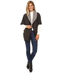 Mod O Doc Two Tone Ponte Snap Front Poncho Coat Dark Grey Women's Coat Gray