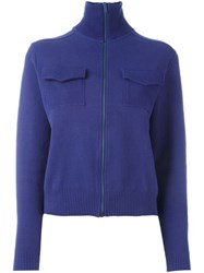 Romeo Gigli Vintage Funnel Neck Cardigan Blue