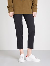 Moandco. Cropped High Rise Wool Blend Trousers Black