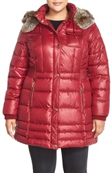 Laundry By Design Faux Fur Trim Hooded Quilted Coat Plus Size Autumn Red