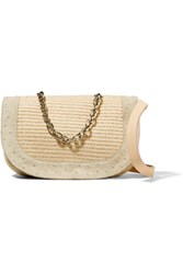 M Missoni Paneled Leather Straw And Ostrich Effect Suede Shoulder Bag Ecru