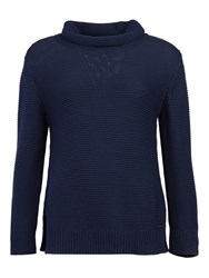 Barbour Purl Stitch Roll Neck Jumper Navy