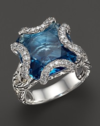 John Hardy Batu Classic Chain Sterling Silver Medium Braided Ring With London Blue Topaz And Diamonds Silver Blue