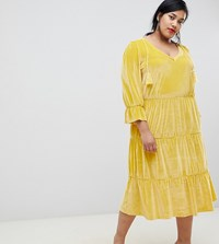 Junarose Tiered Velour Dress Yellow