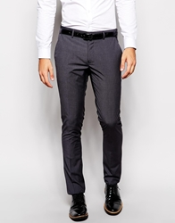 Vito Tonal Pow Check Suit Trousers In Slim Fit Charcoal