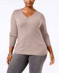 Charter Club Plus Size Cashmere V Neck Sweater Only At Macy's Parasol