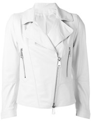 Sylvie Schimmel Biker Jacket With Silver Tone Zippers White
