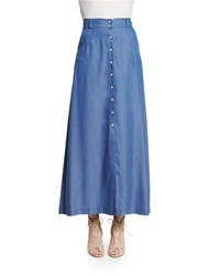 Carisa Rene Western High Waist Maxi Skirt Chambray
