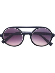 Derek Lam Bridged Round Frame Sunglasses Black