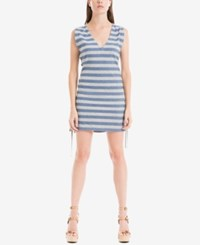Max Studio London Lace Up Striped Dress Blue Grey
